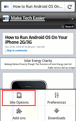 Android-Firefox-Site-Optionen